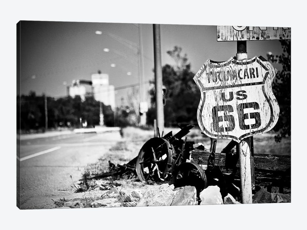 Route 66 Sign In Black&White by Susan Vizvary 1-piece Art Print