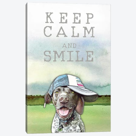 Keep Calm And Smile With Calvin Canvas Print #SUZ108} by Suzanne Anderson Canvas Wall Art