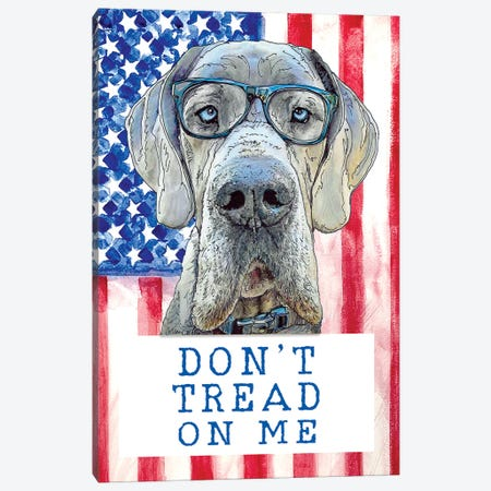 Don't Tread On Me With Maverick The Great Dane Canvas Print #SUZ109} by Suzanne Anderson Canvas Wall Art