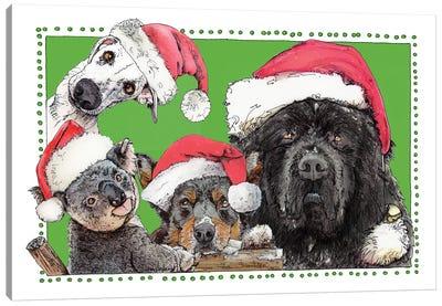 A Newfie Whippet Sheepdog & Koala Kind Of Holiday Canvas Art Print