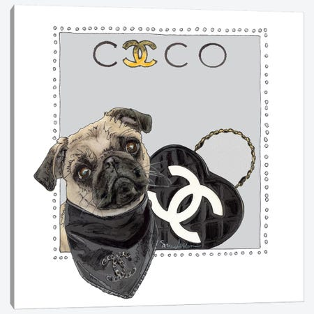 Cocao The Pug Canvas Print #SUZ118} by Suzanne Anderson Canvas Art Print