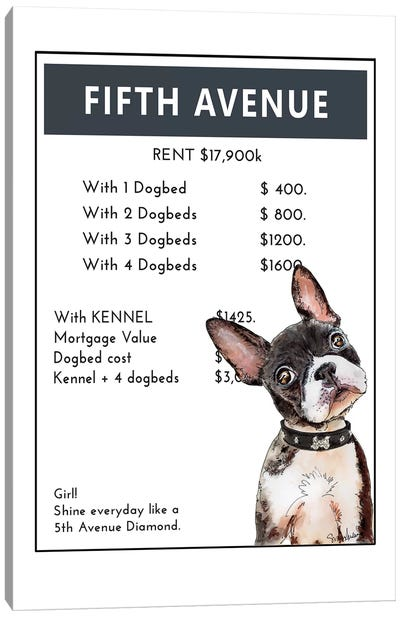 French Bulldog Puppy On Fifth Avenue Canvas Art Print