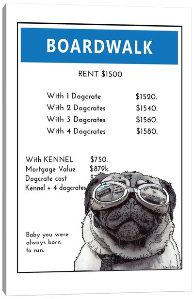 Pug On The Boardwalk Canvas Art Print