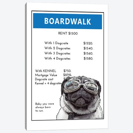 Pug On The Boardwalk Canvas Print #SUZ122} by Suzanne Anderson Canvas Wall Art