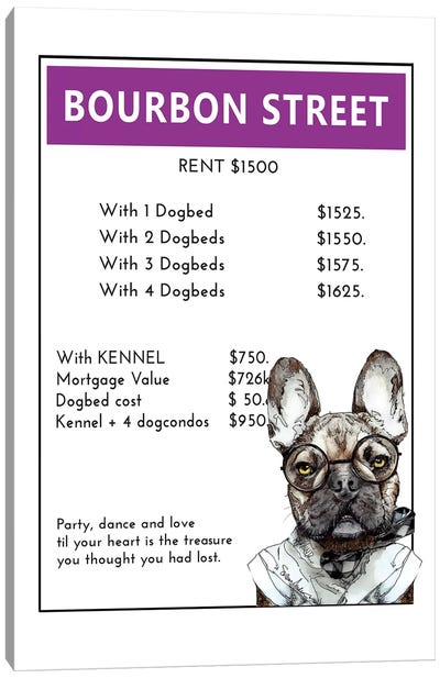 French Bulldog On Bourbon Street Canvas Art Print