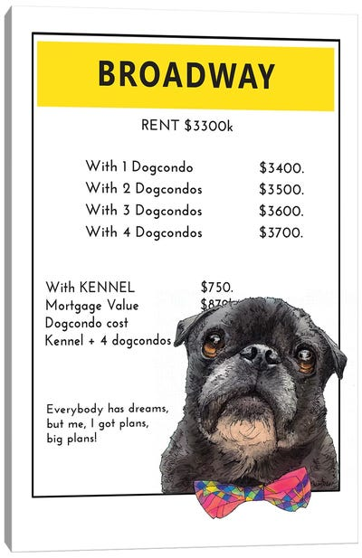 Pug On Broadway Canvas Art Print