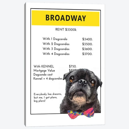 Pug On Broadway Canvas Print #SUZ124} by Suzanne Anderson Canvas Print