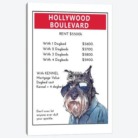 Miniature Schnauzer On Hollywood Boulevard Canvas Print #SUZ127} by Suzanne Anderson Canvas Print