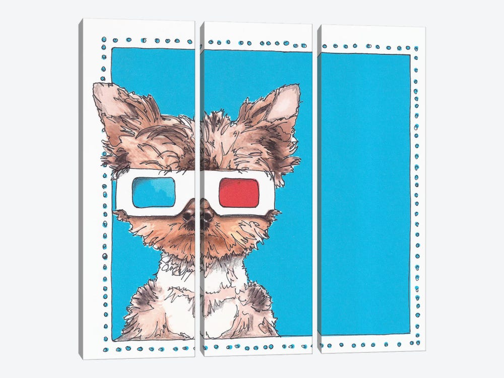 Twiggy The Yorkie by Suzanne Anderson 3-piece Canvas Wall Art