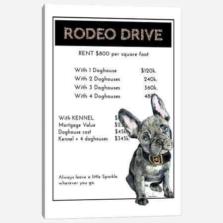 French Bulldog Puppy Shopping On Rodeo Drive Canvas Print #SUZ130} by Suzanne Anderson Canvas Print