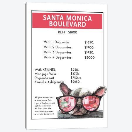 French Bulldog Puppy On Santa Monica Boulevard Canvas Print #SUZ131} by Suzanne Anderson Art Print