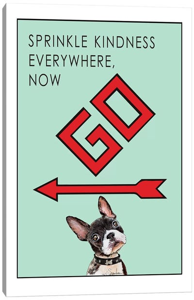 Boston Terrier Puppy Want To Sprinkle Kindness Everywhere Canvas Art Print