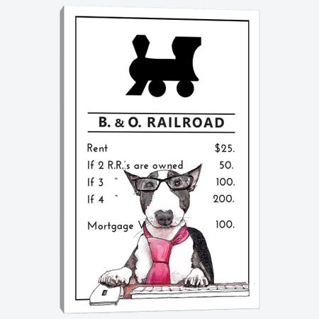 Bull Terrier In Charge Of The B&O Railroad Canvas Print #SUZ139} by Suzanne Anderson Canvas Print