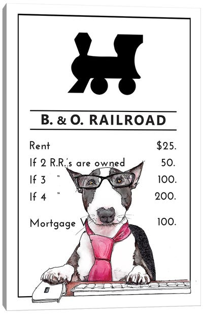 Bull Terrier In Charge Of The B&O Railroad Canvas Art Print