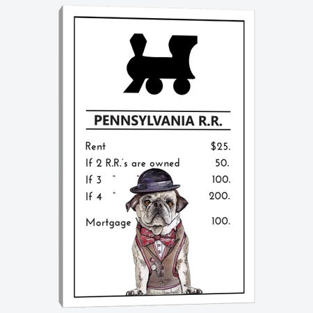 Pug Life At The Pennsylvania Railroad Canvas Print #SUZ140} by Suzanne Anderson Canvas Art