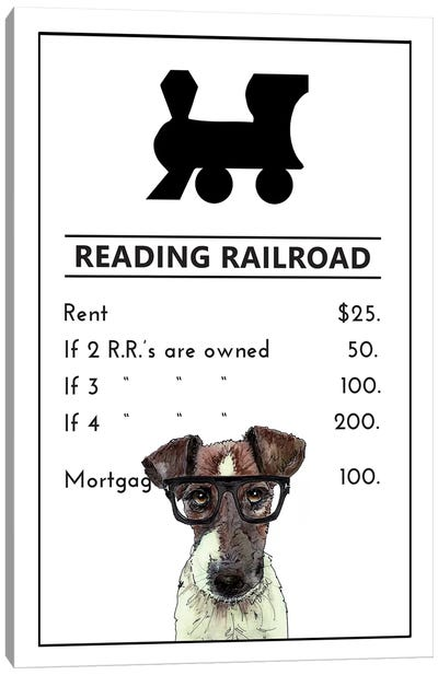 Jack Russell On The Reading Railroad Canvas Art Print