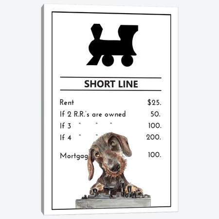 Miniature Dachshund Owning The Short Line Canvas Print #SUZ142} by Suzanne Anderson Canvas Art