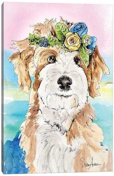 Sheepadoodle Flowers Canvas Art Print