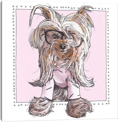 Willie, Cute In Pink Canvas Art Print