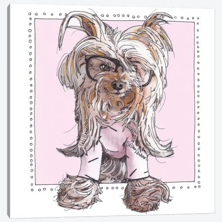 Willie, Cute In Pink 3-Piece Canvas #SUZ31} by Suzanne Anderson Canvas Print