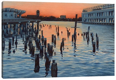 Hudson River Sunset And The Ghost Of Pier LXI Canvas Art Print