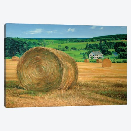 Bales In The Field Canvas Print #SVD12} by Nick Savides Canvas Art Print