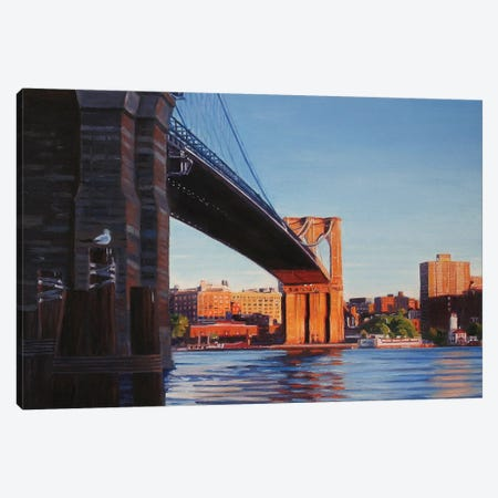 Brooklyn Bridge At Sunset II Canvas Print #SVD13} by Nick Savides Art Print