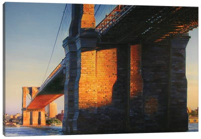 Brooklyn Bridge At Sunset Canvas Art Print