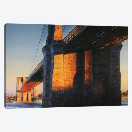 Brooklyn Bridge At Sunset Canvas Print #SVD16} by Nick Savides Canvas Art