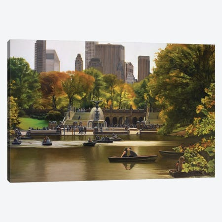 Central Park – Bethesda Terrace In Autumn Canvas Print #SVD19} by Nick Savides Canvas Print