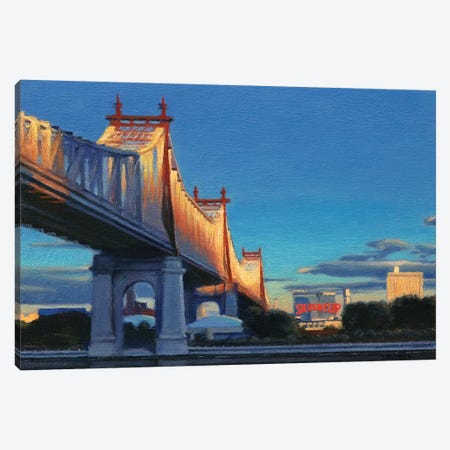 59th Street Bridge At Sunset Canvas Print #SVD1} by Nick Savides Canvas Wall Art