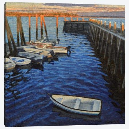 Chebeague Island Docks At Sunrise Canvas Print #SVD21} by Nick Savides Canvas Wall Art