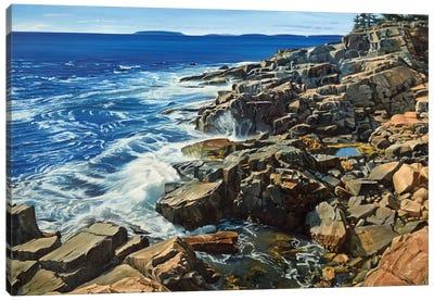 Cliffs And Crashing Waves Canvas Art Print