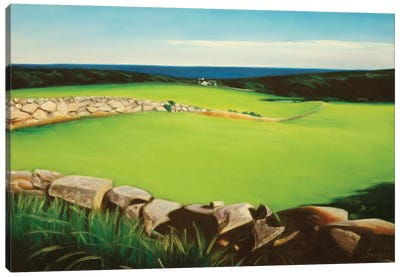 Farm Along Shoreline Canvas Art Print