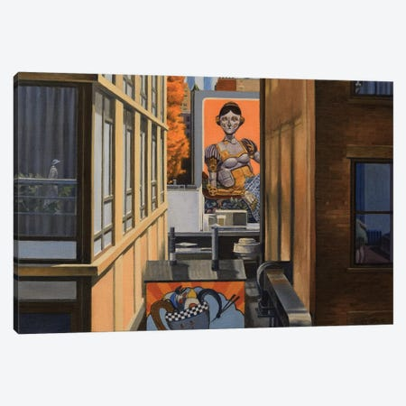 High Line View With Robot Lady 3-Piece Canvas #SVD34} by Nick Savides Canvas Artwork
