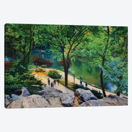 Lovers In Central Park Canvas Print #SVD40} by Nick Savides Canvas Art