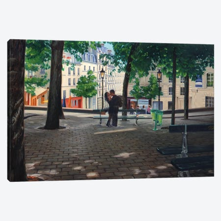 Lovers In Montmartre Canvas Print #SVD41} by Nick Savides Canvas Wall Art