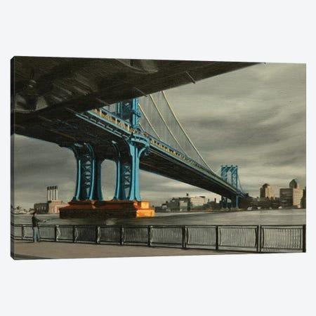 Manhattan Bridge With Gray Skies Canvas Print #SVD44} by Nick Savides Canvas Print