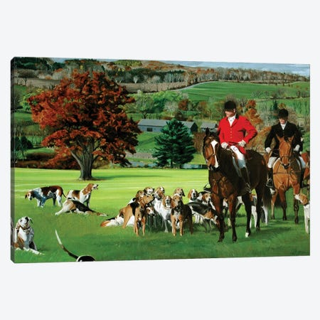 Millbrook Hunt Meet Canvas Print #SVD48} by Nick Savides Canvas Art