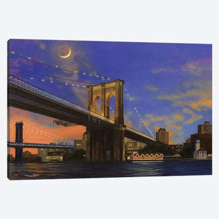 Moonrise Over The Brooklyn Bridge Canvas Print #SVD50} by Nick Savides Canvas Print