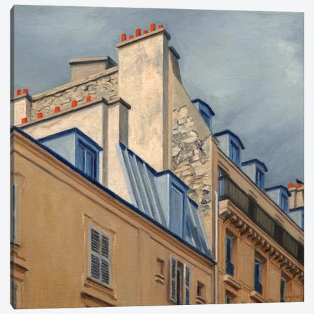 Paris Rooftops II Canvas Print #SVD57} by Nick Savides Canvas Wall Art