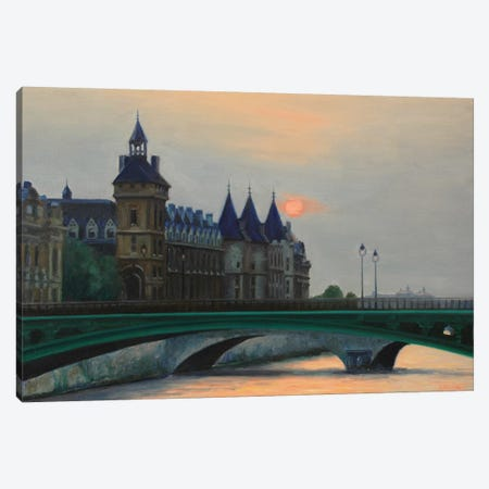 Paris Sunset And The Conciergerie Canvas Print #SVD58} by Nick Savides Canvas Art Print
