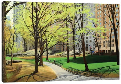 Springtime In Central Park Canvas Art Print