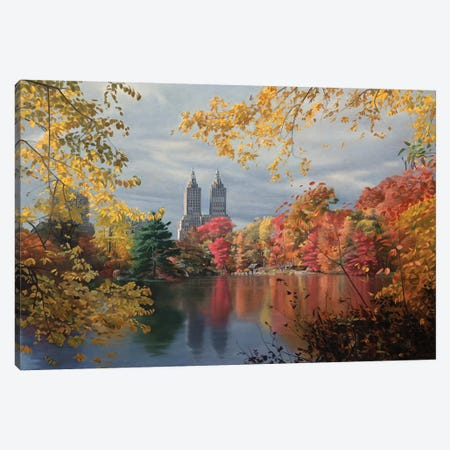 Autumn In Central Park Canvas Print #SVD6} by Nick Savides Art Print
