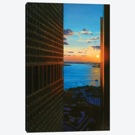 Sunset Over The New York Harbor Canvas Print #SVD73} by Nick Savides Canvas Print