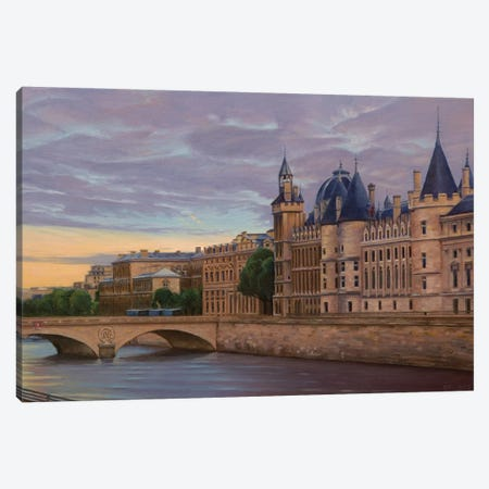 The Conciergerie At Sunset Canvas Print #SVD74} by Nick Savides Canvas Artwork