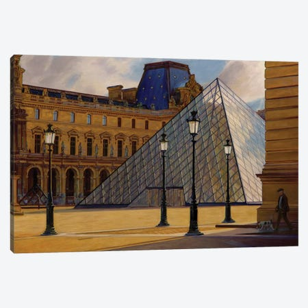 The Louvre In Morning Light Canvas Print #SVD76} by Nick Savides Canvas Artwork