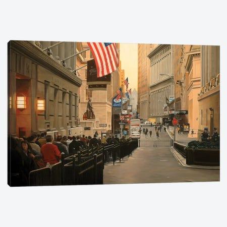Wall Street, Early Morning Canvas Print #SVD92} by Nick Savides Canvas Art Print