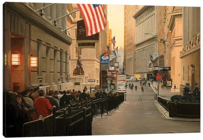Wall Street, Early Morning Canvas Art Print