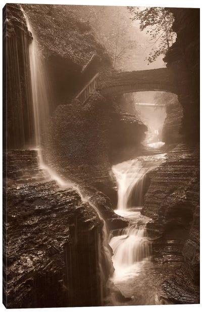 Waterfall On A Rainy Day Canvas Art Print
